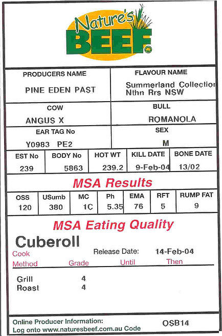 Nature's Beef Innovative Traceability System