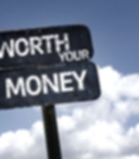 Worth Your Money sign with clouds and sk