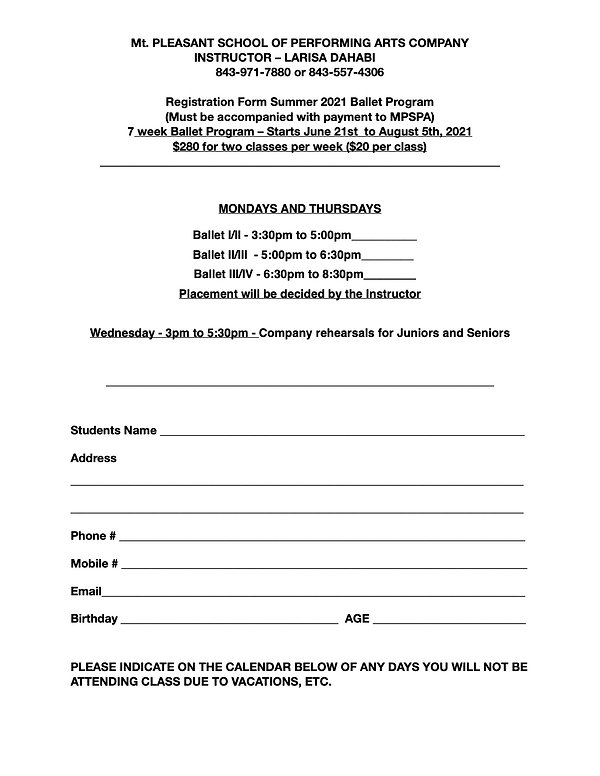 Registration Form Summer Dance Programs.