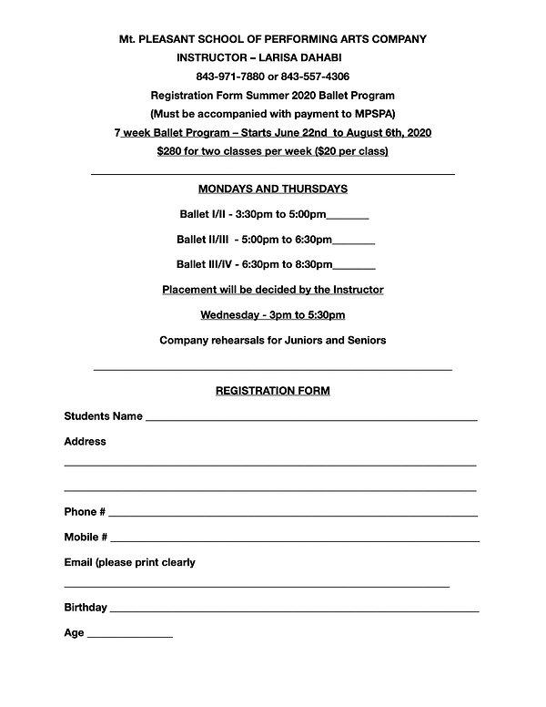 Registration Form Summer 2020 Dance Prog