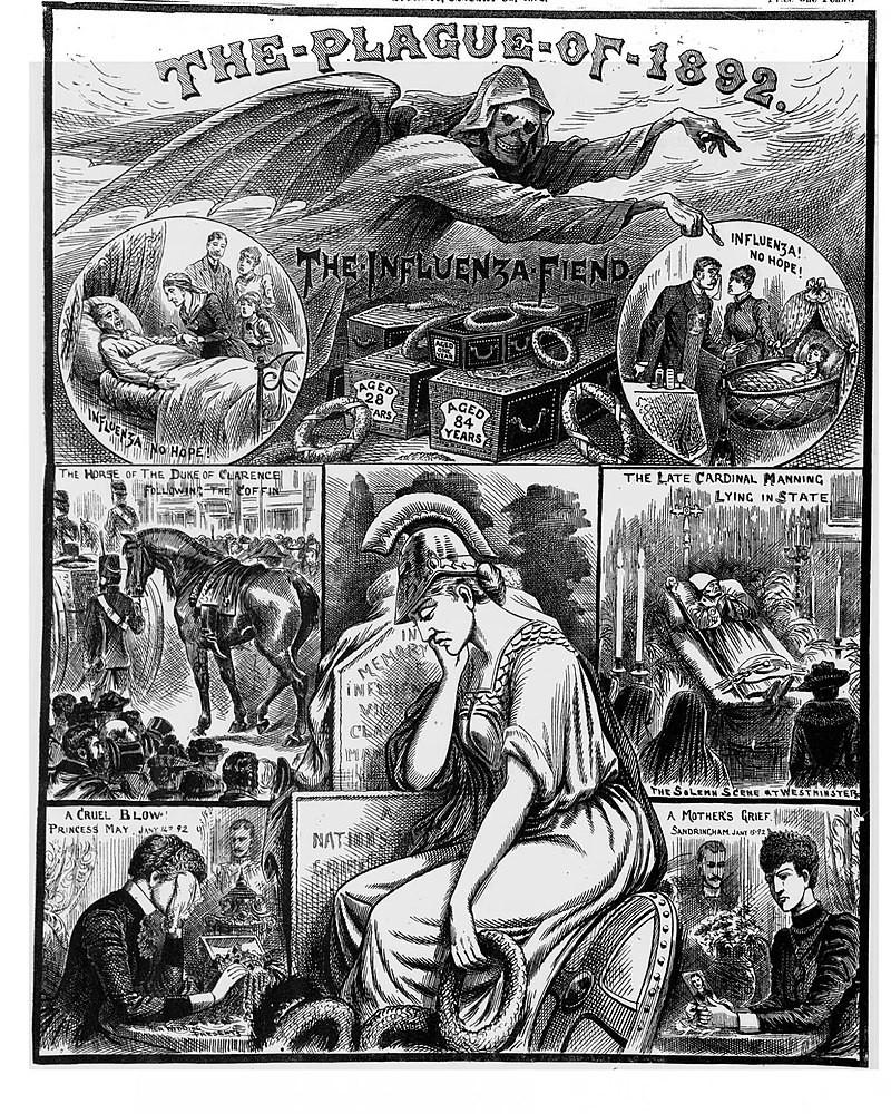 The Plague of 1982, veröffentlicht am 01 01 1892, in: Illustrated Police News, © gemeinfrei.