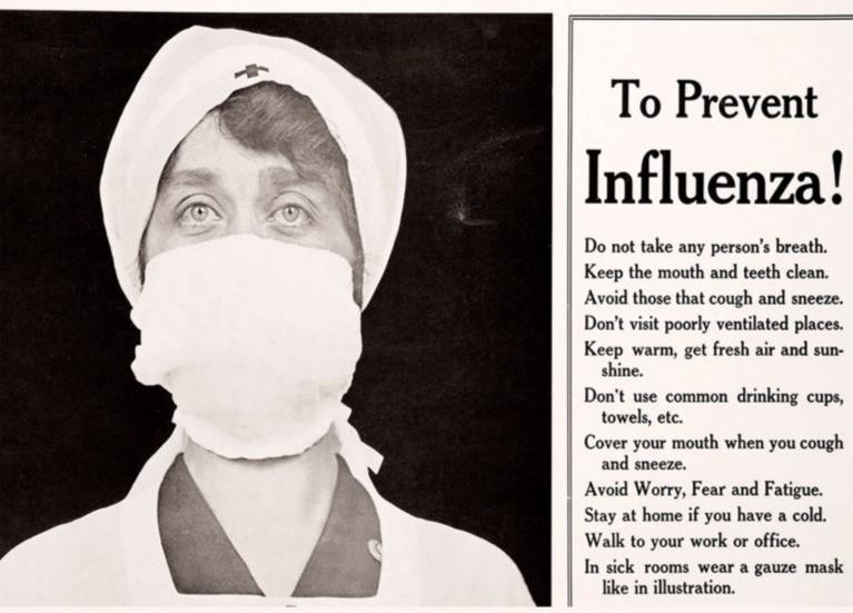 Warnhinweise aus 1918, nicht unähnlich den heutigen. Connecticut (USA). Bild: National Library of Medicine | Science Photo Library.
