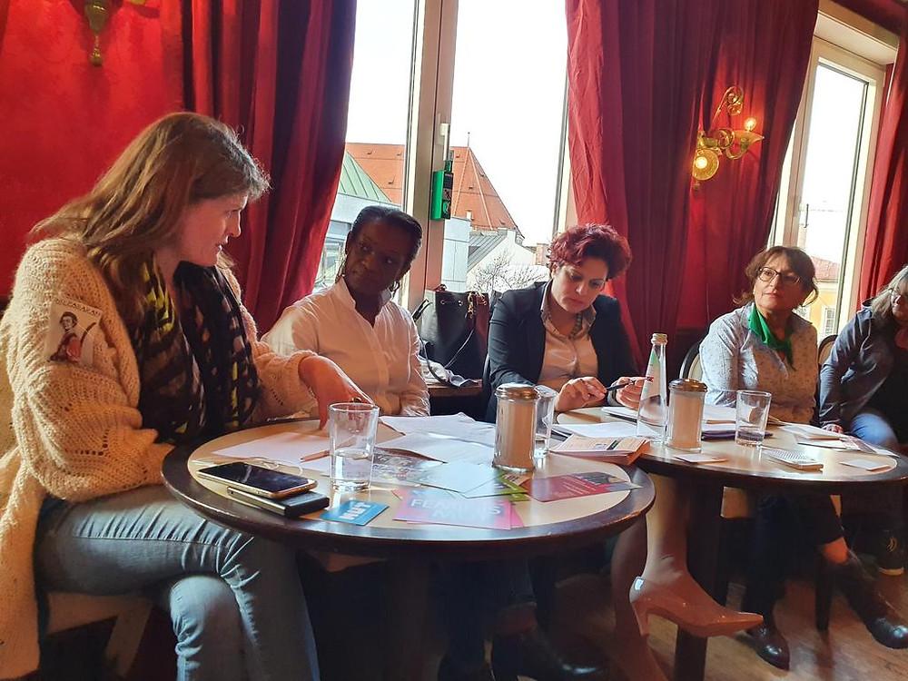v.l.n.r.: Claudia Stamm, Marie-Jules Mpot Mimbang, Johanna Panagiotou Victoria Mali, Dr. Corina Toledo. Copyrights: Marion Ellen, Twitter: @BayernDrache