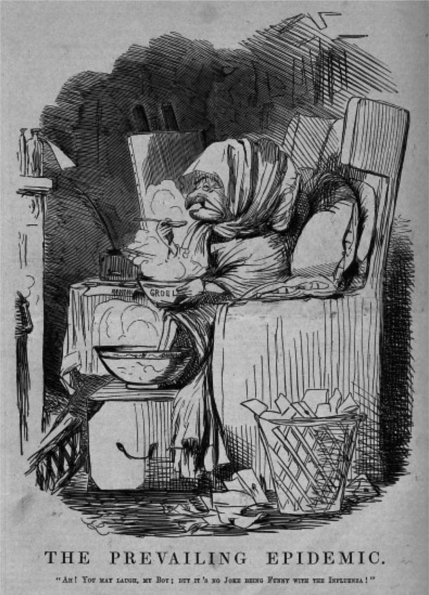 The Prevailing Epidemic. Mr Punch in front of a fire eating gruel: 'It's no joke being funny with the influenza' Punch magazine, c. 1891. Engraving by J. Leech. The cartoon refers to the Russian Flu, the influenza pandemic 1889/1890. Cf. Mark Honigsbaum: The Great Dread. In: Social History of Medicine 23, Nr. 2 (2010), S. 304. From Punch (1891), CC BY-SA 4.0.