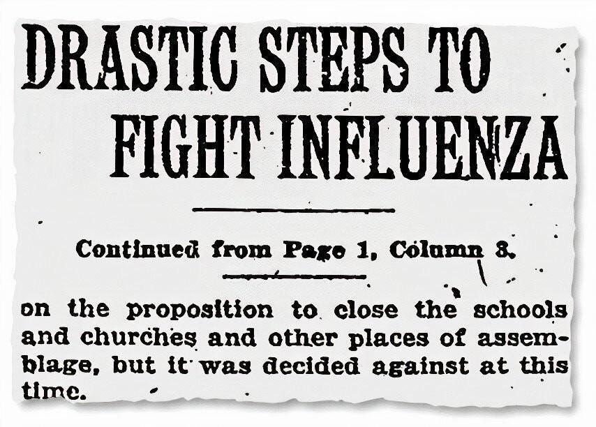 Ein New York Times Artikel vom 5. Oktober 1918 zum nötigen Lockdown.