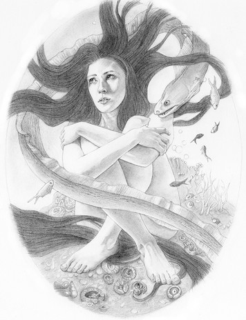 Eel Stories, graphite and Black Wing pencil, inspiration for upcoming graphic novel.