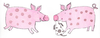 PIGS TOUCH SNOUTS AND SAY HELLO