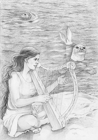 Inside illustration for The Silkie, written by Sandra Horn, published by Cluckett Press 2017, The Harp, graphite.