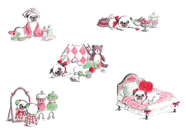 A spread  from 'Princess, the pampered pug', personal project