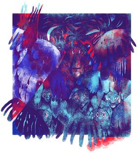 'Midnight Picnic'; three colour screen print.