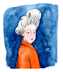 'Study for 'Violet' from 'An Unfortunate Series of Events'; watercolour on paper.