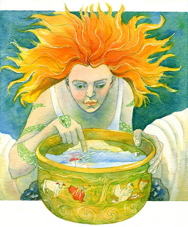 Concept work for calendar highlighting myths and fairytales of the British Isles, Brighde the Seer, watercolour.