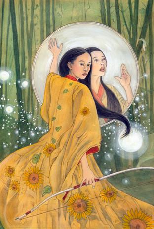 Personal work, Amaterasu, watercolour.