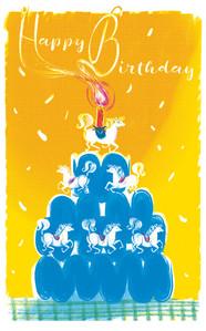 'Happy Birthday'; three colour screen print.