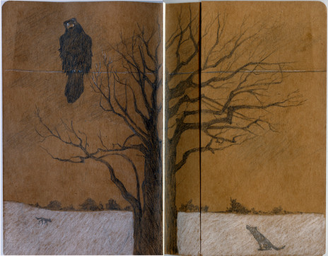 Sketchbook Stories, Inside covers for Night Tales, inspired by Native American stories, charcoal, oil crayon, pencil.