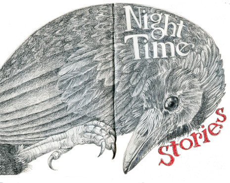 Sketchbook Stories, Cover for Night Tales, inspired by Native American stories, charcoal, oil crayon, pencil.