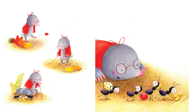 A spread  from 'Little Mole and the falling leaves', personal project