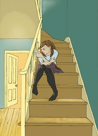 Inside artwork for When Dad Hurts Mum, On the stairs, Books Beyond Words publisher, 2015,  ink brushwork and digital colour.