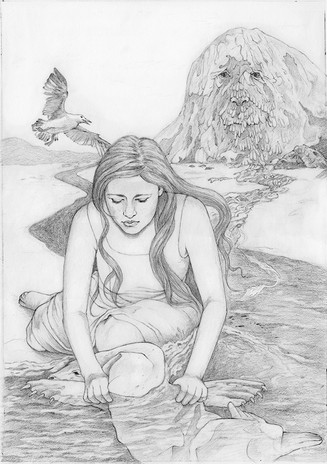 Inside illustration for The Silkie, written by Sandra Horn, published by Cluckett Press 2017, Washing his skin, graphite.
