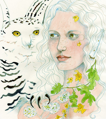Concept work for calendar highlighting myths and fairytales of the British Isles, Bloduewedd, watercolour.