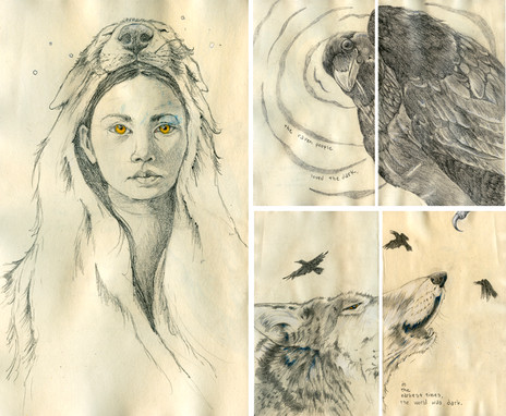 Sketchbook Stories, Inside artwork for Night Tales, inspired by Native American stories, charcoal, oil crayon, pencil.