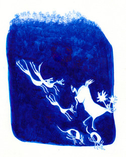 'Deer and Hound's; ink on paper.