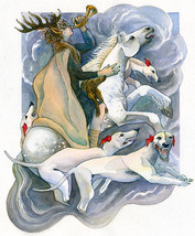 Concept work for calendar highlighting myths and fairytales of the British Isles, Wild Hunt, watercolour.