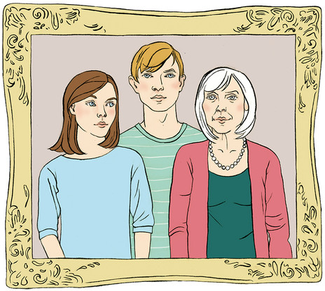 Inside artwork, Finding a Safe Place From Abuse, Family Portrait, Books Beyond Words publisher, 2015, ink brushwork and digital colour.