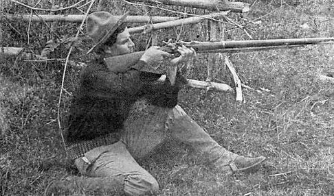 Pvt William N Grayson aiming rifle 1899.