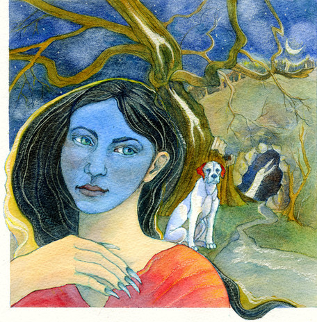 Concept work for calendar highlighting myths and fairytales of the British Isles, Black Annis, watercolour.