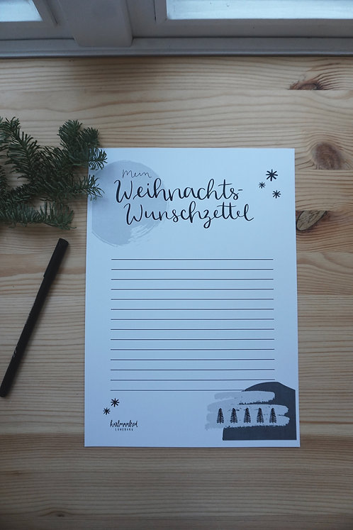 Wunschzettel - schwarz/weiß