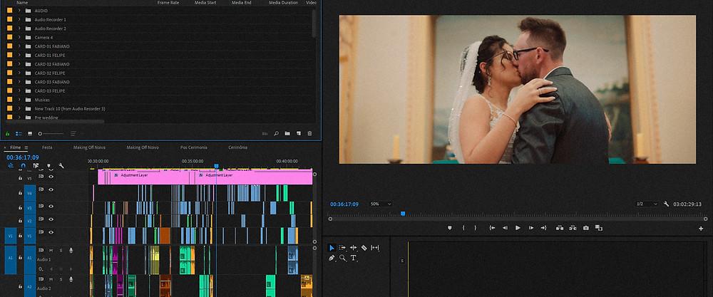 Tela do premiere pro 2019 com vídeo de casamento