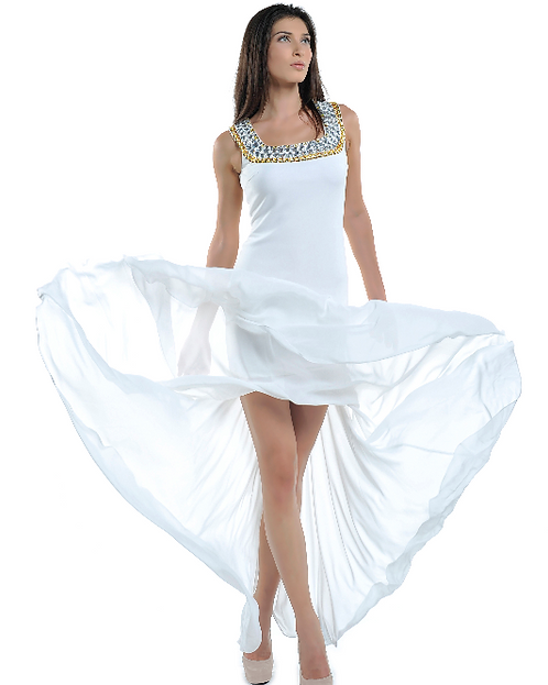 White Evening Dress with Golden Crystals