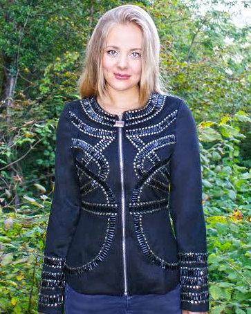 Black Cashmere Jacket with Black Platinum Crystals