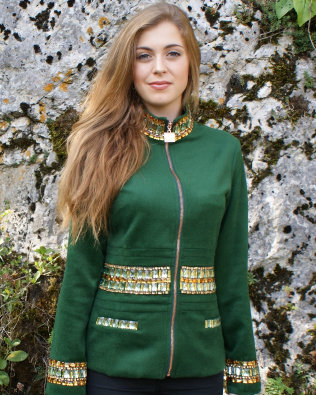 Dark Green Cashmere Jacket with Topaz Crystals