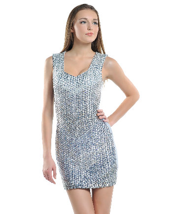 Platinum Full-Crystal Body Glamour Dress
