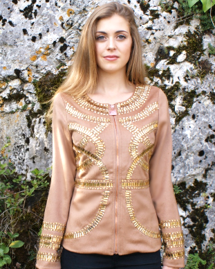 Beige Cashmere Jacket with Gold Crystals