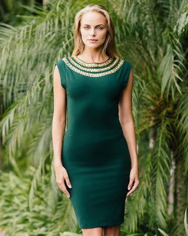 Dark Green Dress with Gold and Green Necklace