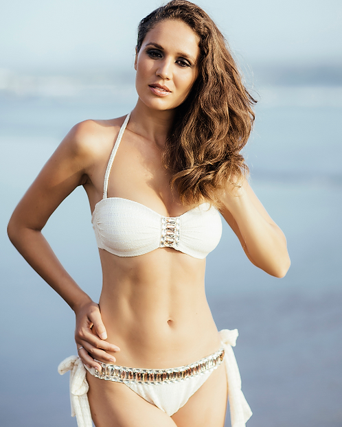 Light Beige Knit Bikini with Golden Crystals