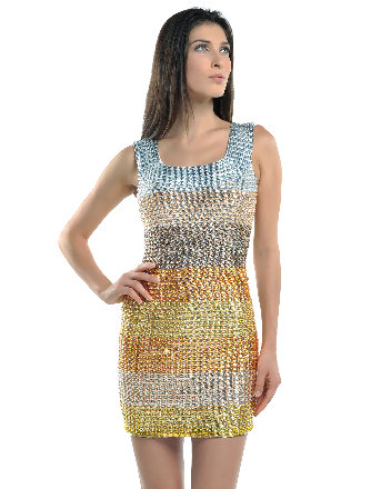 Gold Crystal Full-Body Silhouette Glamour Dress
