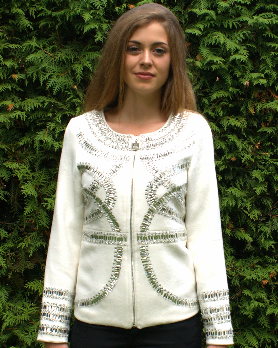 White Cashmere Jacket with Platinum Crystals