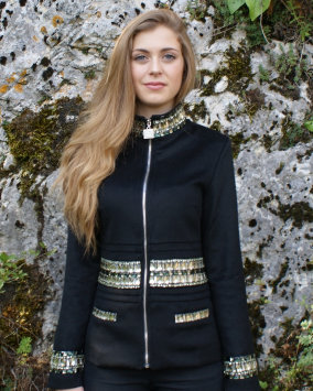 Black Cashmere Jacket with Topaz Crystals
