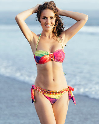 Multicolor Bikini with Gold and Magenta Crystals
