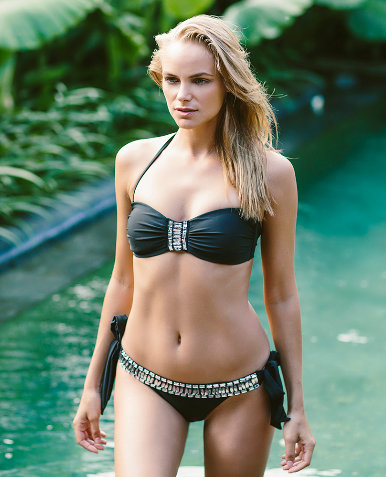Black Bikini with Platinum and Silver Crystals