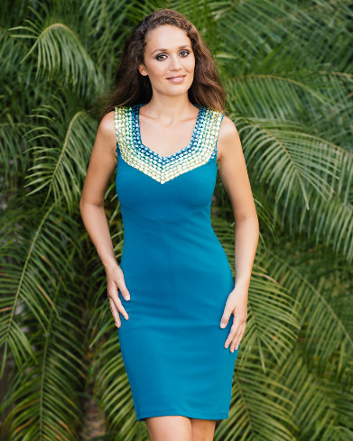 Blue Marine Dress with Gold and Green Crystals