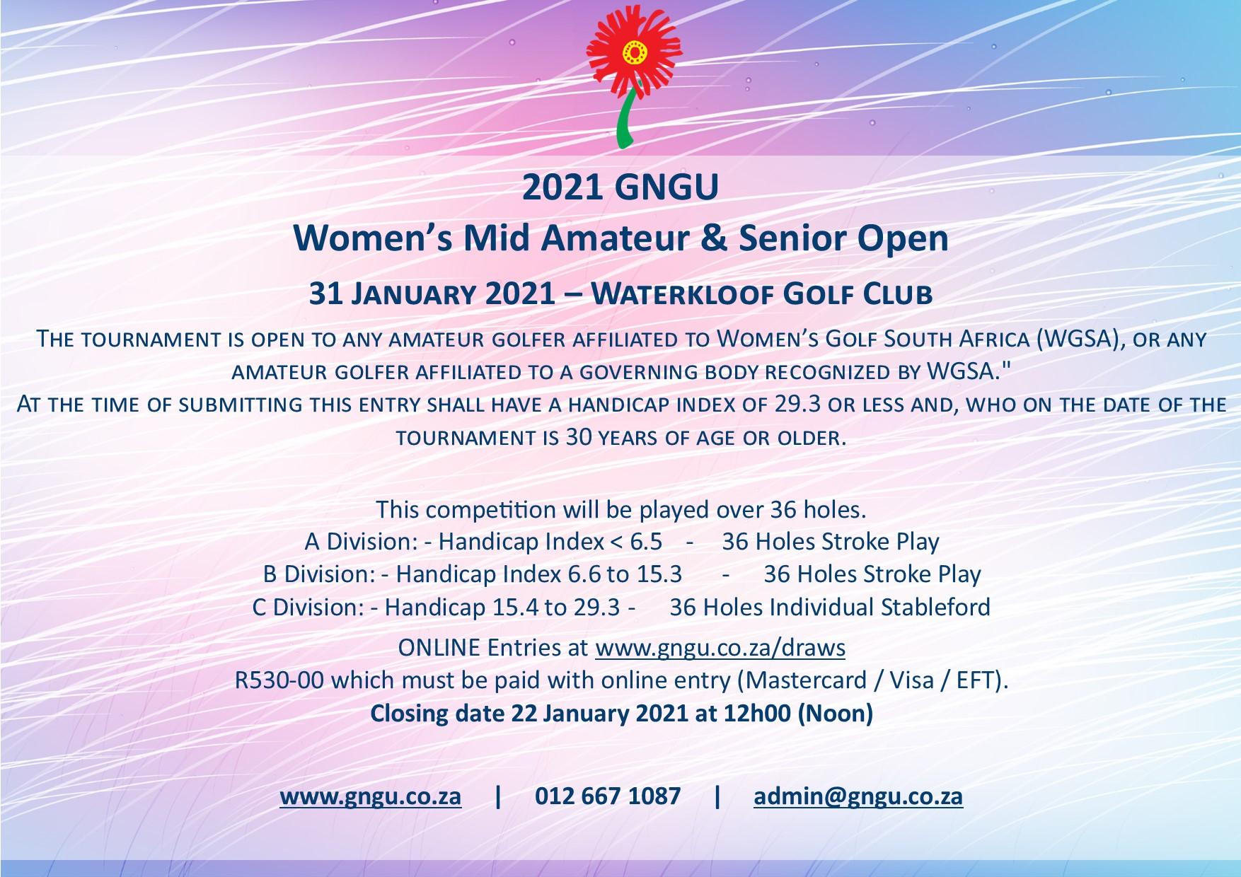 GNGU Mid am and senior Womens Open 2021.