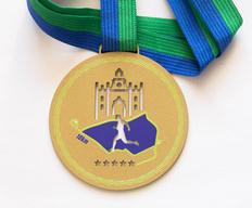 Medalha Exclusiva metal cor Ouro, corte vazado. Impressão Digital UV