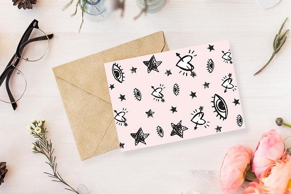 נייר מכתבים ורוד מאוייר