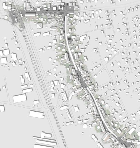 Plan de la Grande Rue et de l'allée de la Gare