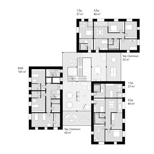 Plan d'étage du nouveau pôle